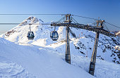 Cableway lifts on snowy mountains background beautiful winter scenic landscape