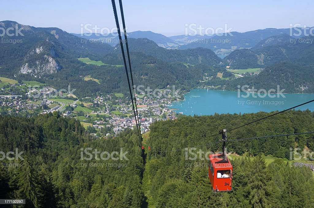 Cableway near Wolfgangsee stock photo