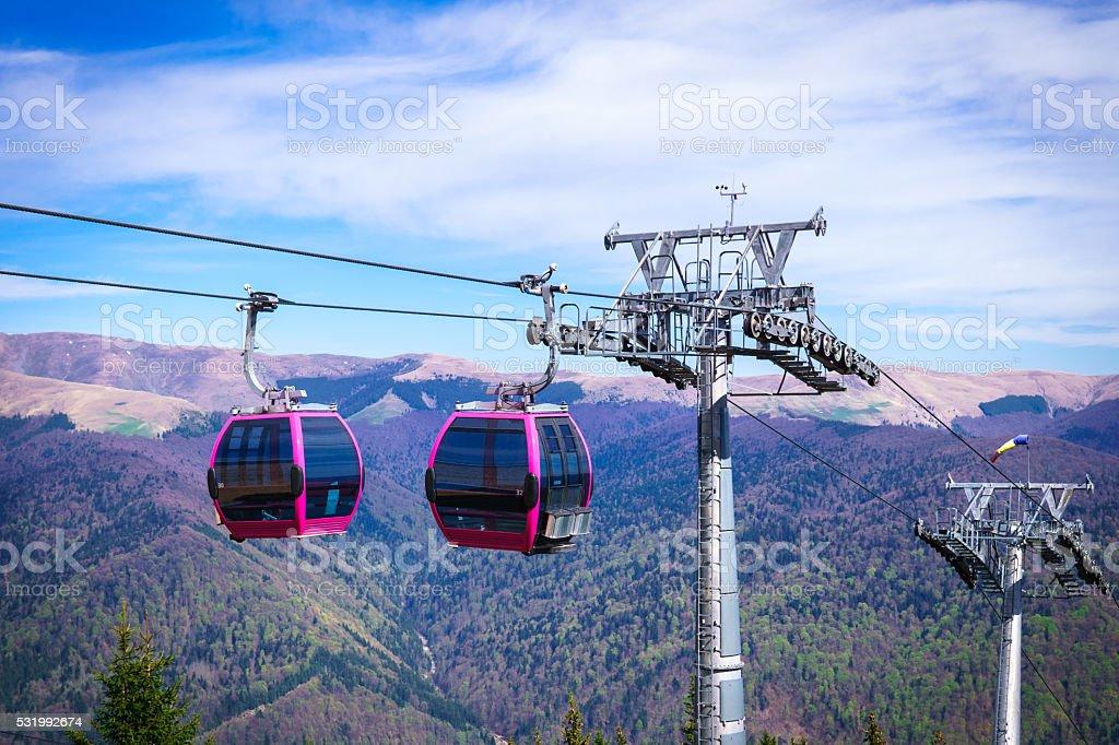 Cableway on Mountain Peak stock photo