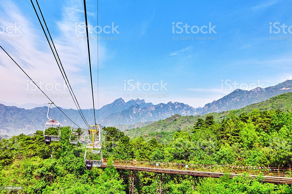 Cableway on the rise on the Great Wall. Section 'Mutianyu'. stock photo