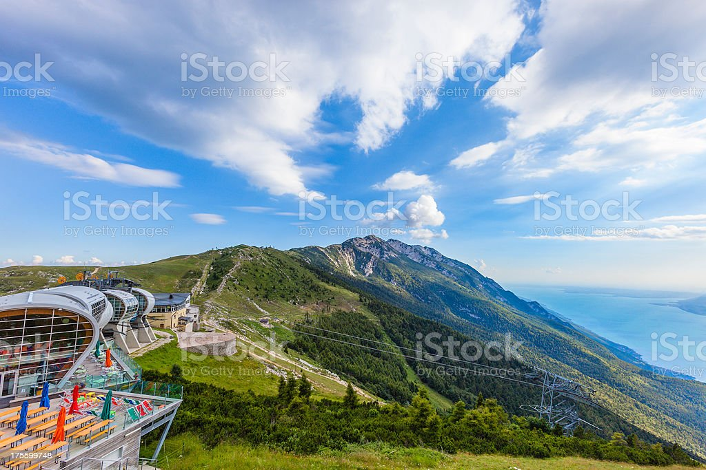 Cableway station on Monte Baldo, Italy stock photo