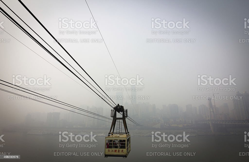 cableway through heavy fog and haze royalty-free stock photo