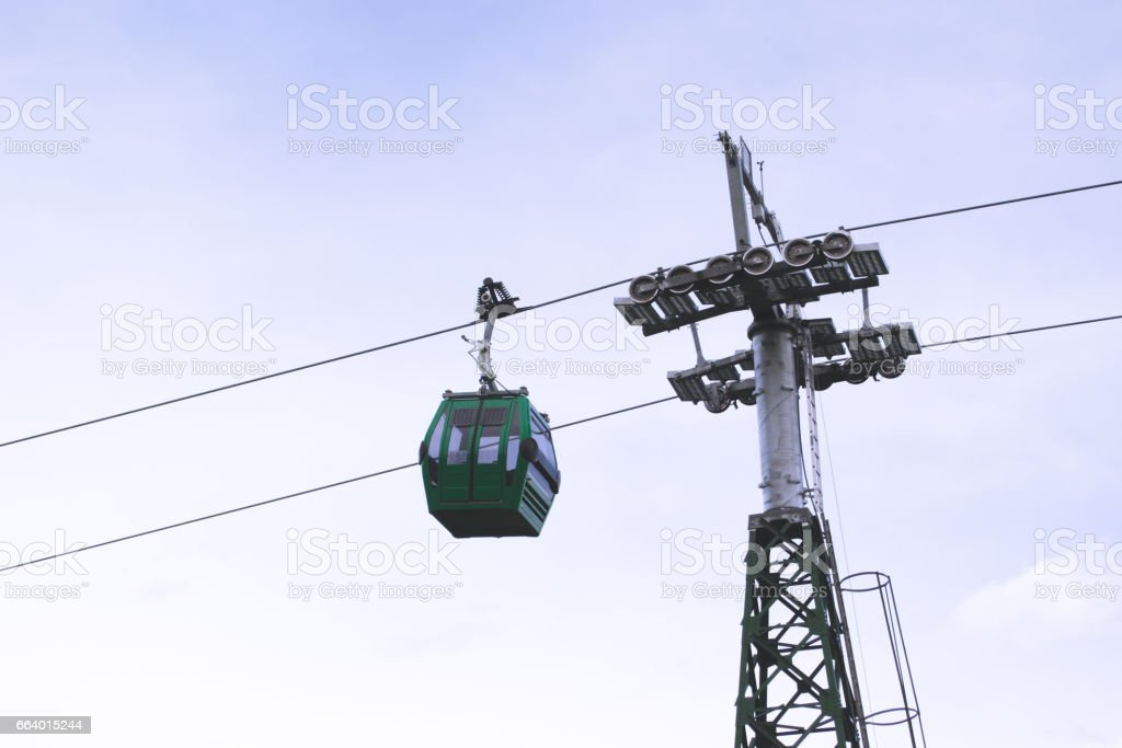 Cableway with a blue sky stock photo