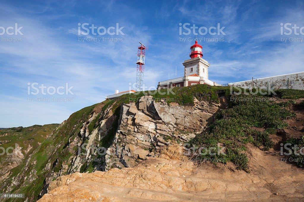 Cabo da Roca lighthouse at sunny day stock photo