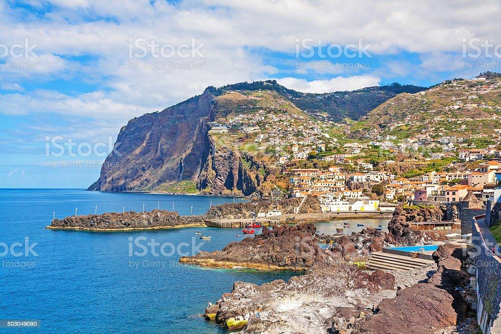Cabo Girao / harbor Camara de Lobos, Madeira stock photo