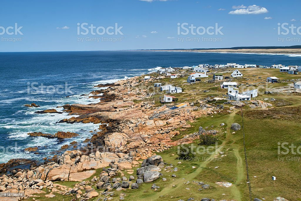 Cabo Polonio coast from the lighthouse stock photo