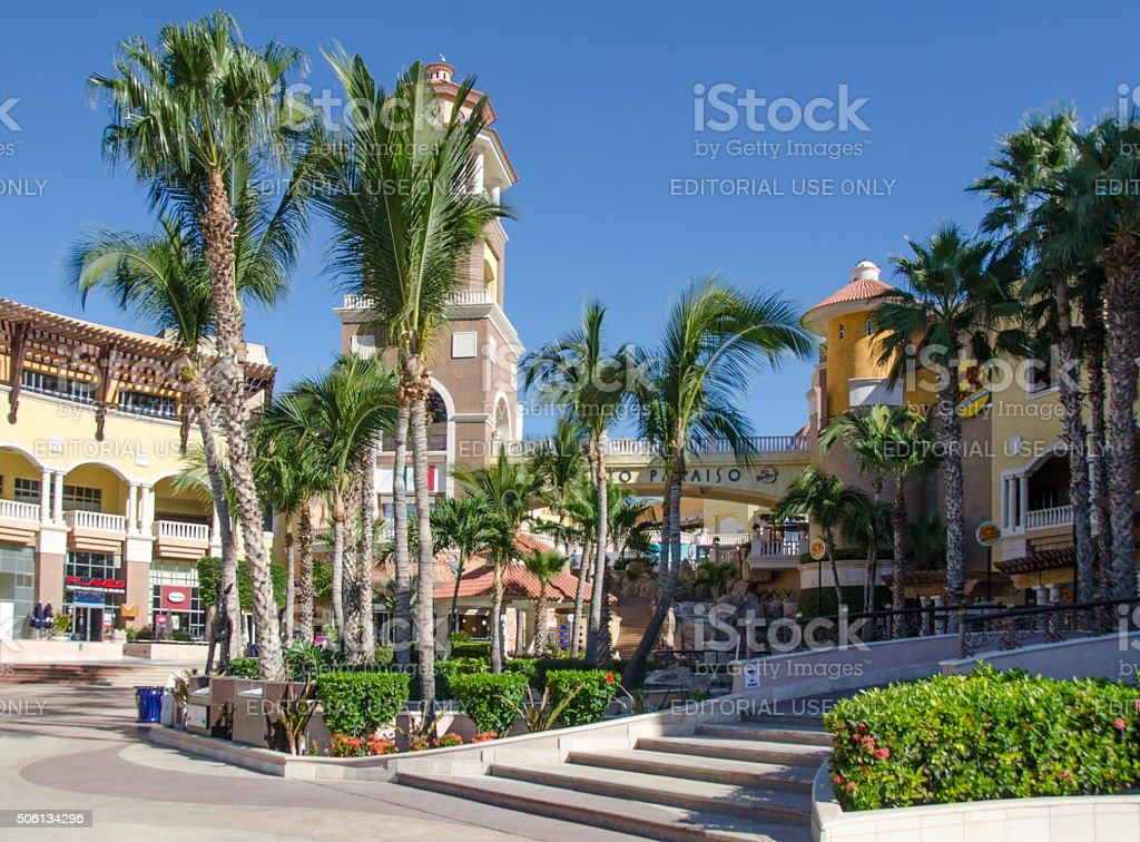 Cabo San Lucas boardwalk and entrance to the shopping mall stock photo