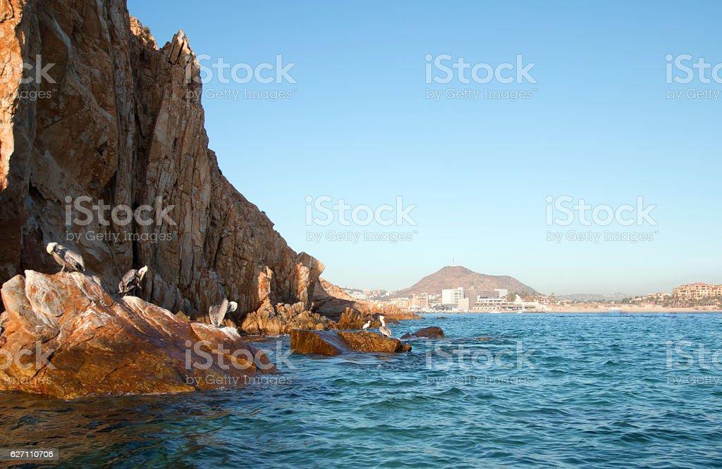 Cabo San Lucas seen from Pelikan rock at Lands End stock photo