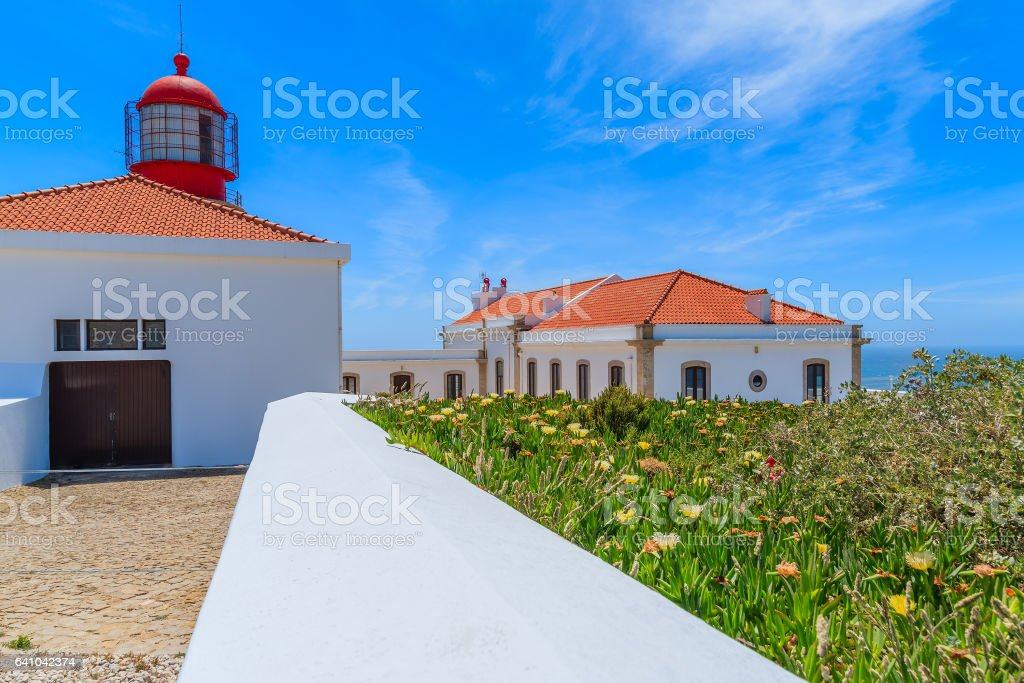 Cabo Sao Vicente lighthouse on coast of Portugal near Lagos stock photo