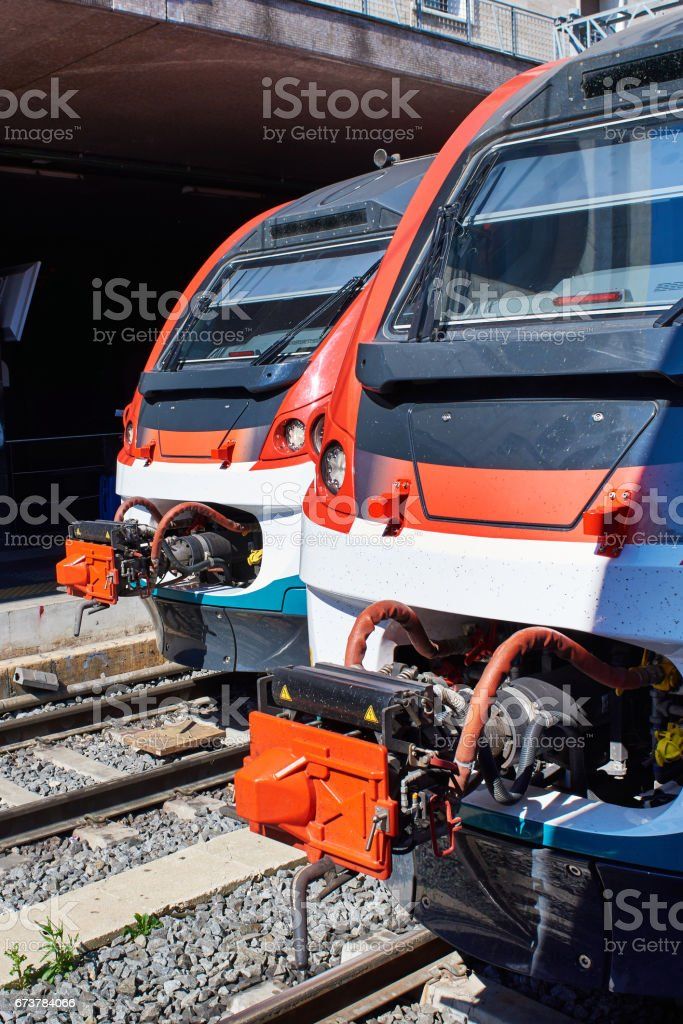 Cabs of high-speed trains of railway stock photo