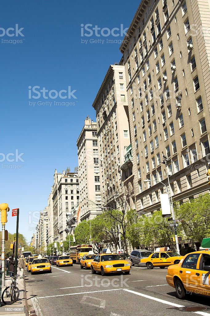 NYC Cabs on 5th Ave stock photo