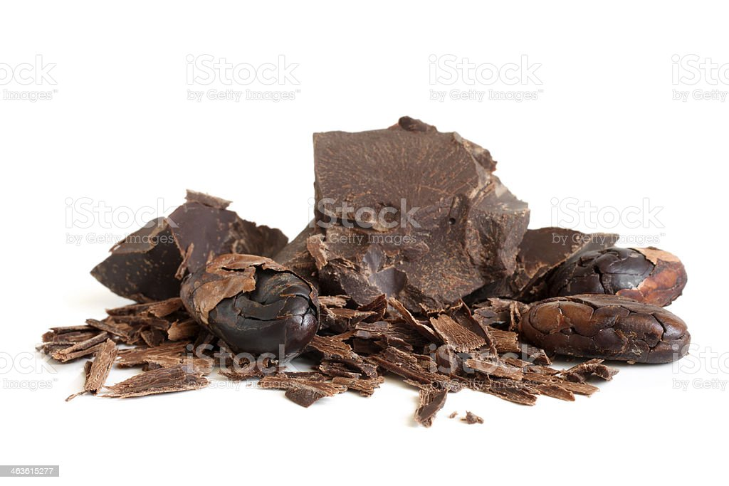 Cacao beans and chocolate stock photo