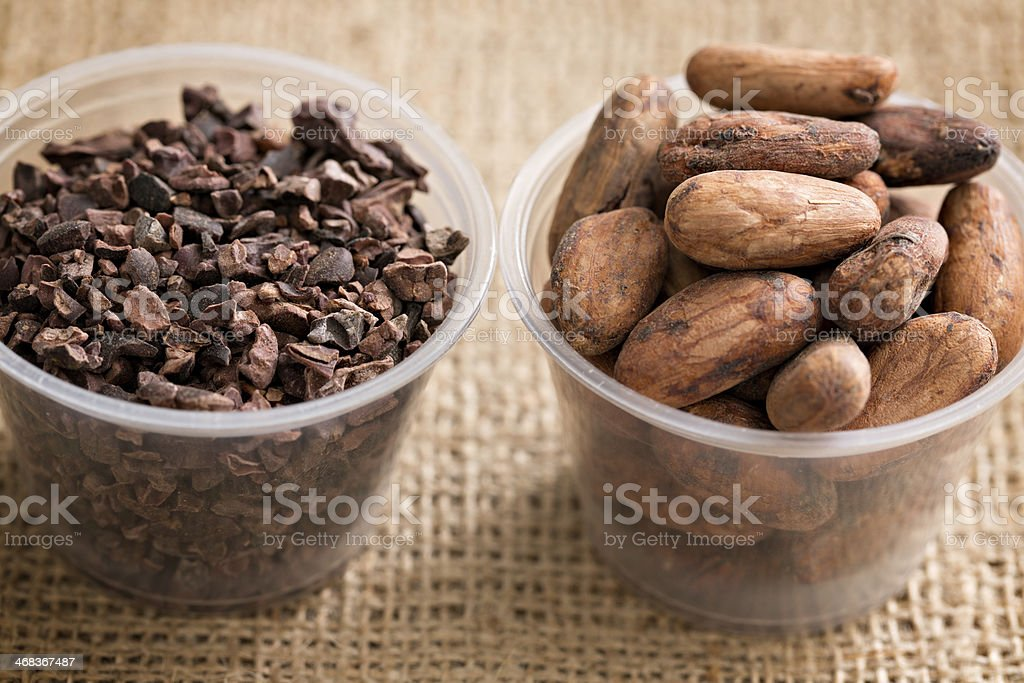 Cacao Beans And Nibs stock photo