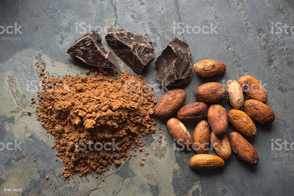 Cacao Beans and Powder stock photo