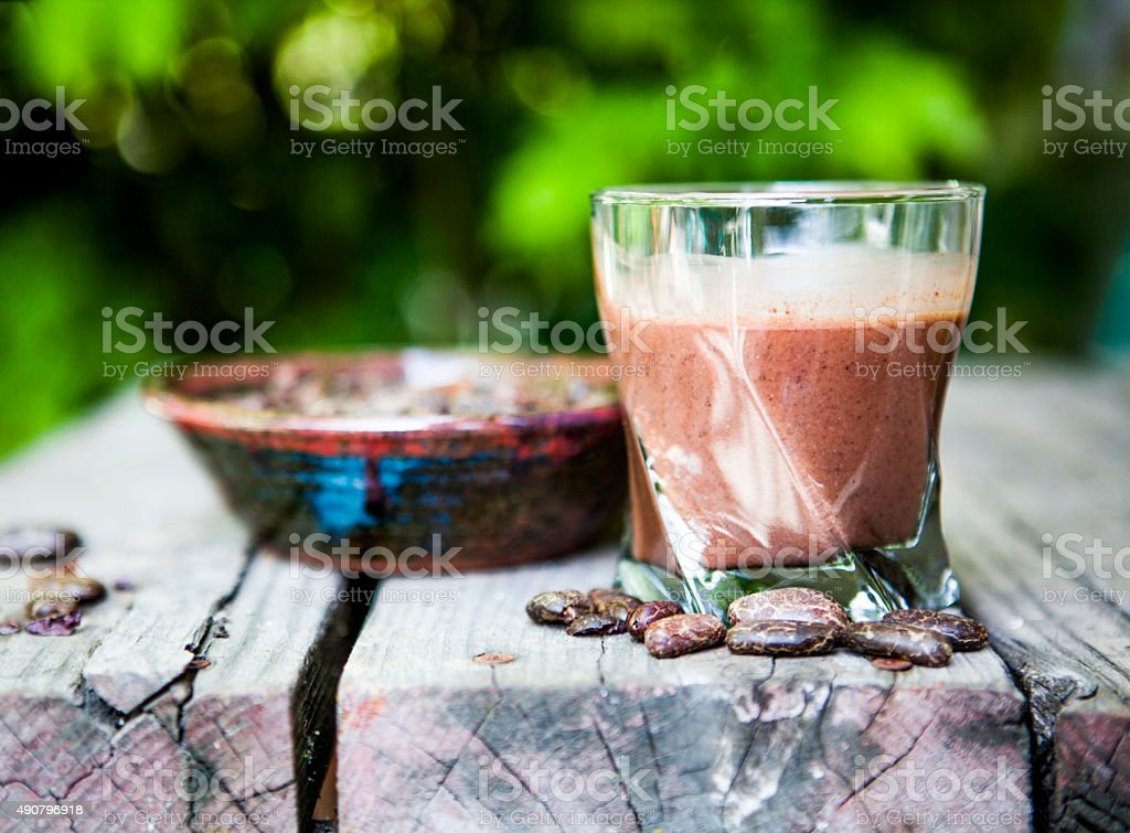 Cacao Beans and Smoothie stock photo