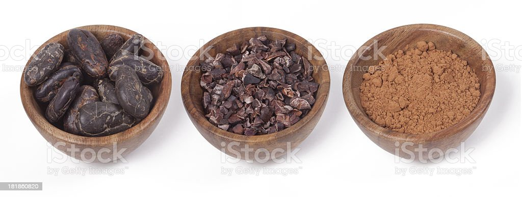 Cacao Beans Nibs and Powder stock photo