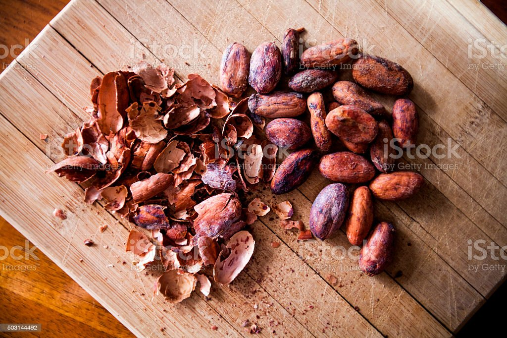 Cacao Husks and Beans stock photo