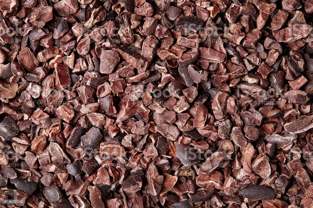Cacao nibs background stock photo