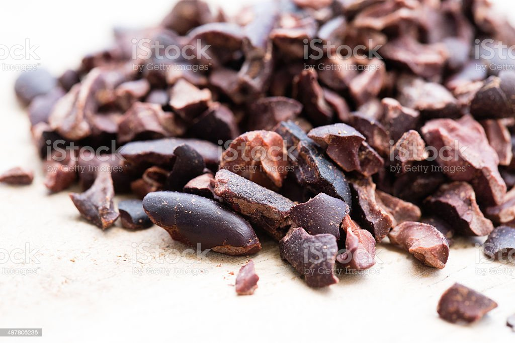 Cacao nibs close up stock photo