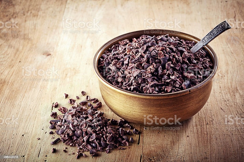 cacao nibs stock photo