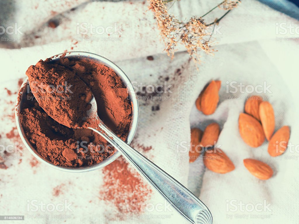 Cacao powder in a glass stock photo