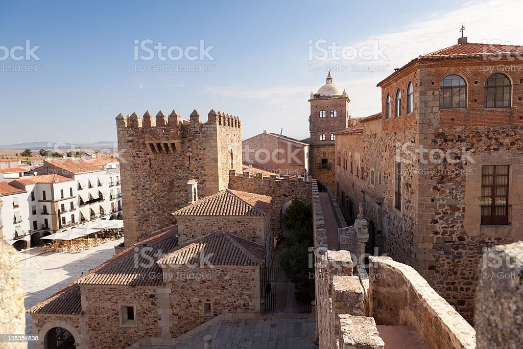 Caceres monumental downtown, Spain stock photo