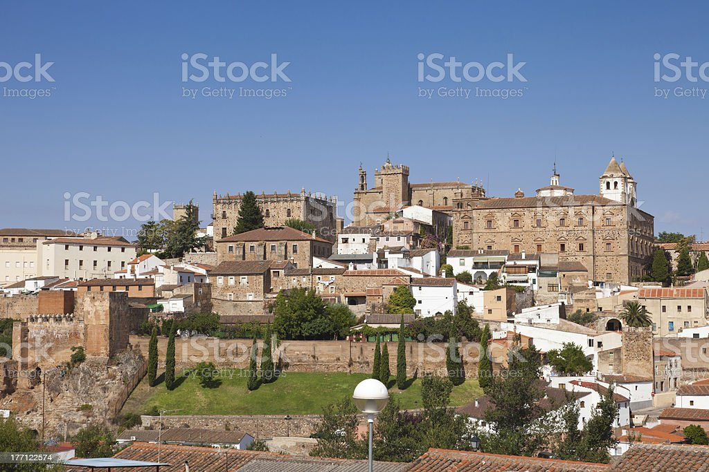 Caceres monumental dowtown, Spain stock photo