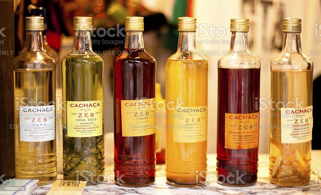 Cachaça bottles at a vintage Cachaca stand in Santa Teresa stock photo