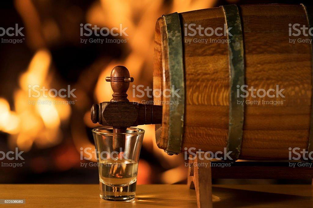 Cachaça Barrel, Brazilian Drink stock photo