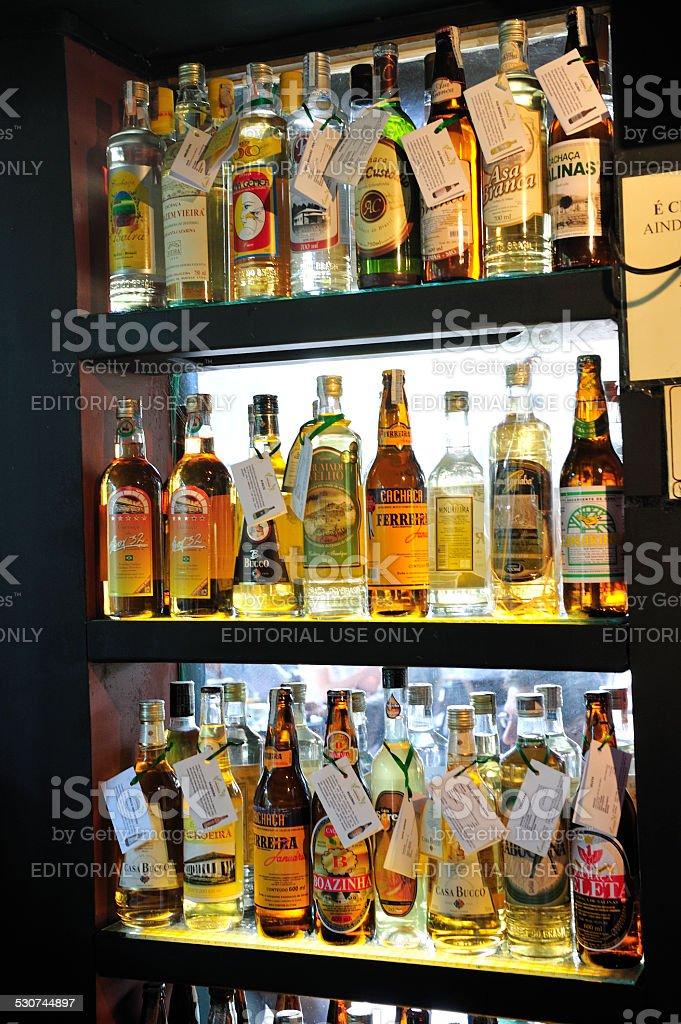 Cachaca, distilled spirit made from sugarcane juice, Brazil stock photo
