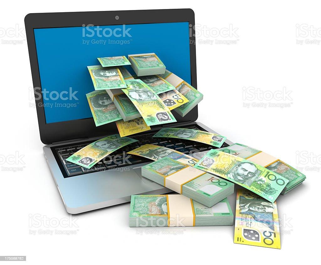 Cache flow from online job. Australian Dollars. stock photo