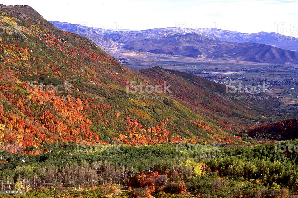 Cache Valley from Wellsville Mountains in autumn near Logan Utah stock photo