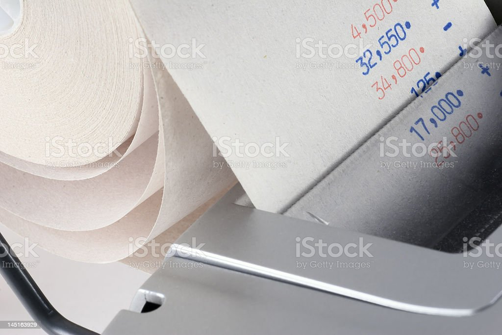 Caculator and Tape royalty-free stock photo
