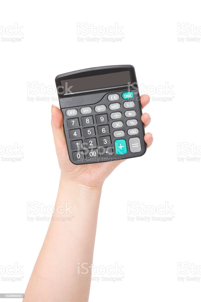 Caculator in a woman's hand stock photo
