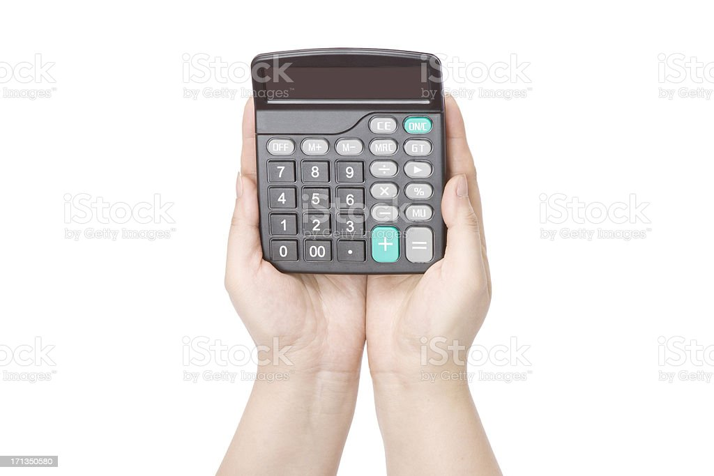 Caculator in a woman's hands stock photo