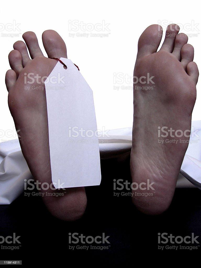 Cadaver with blank toe tag stock photo