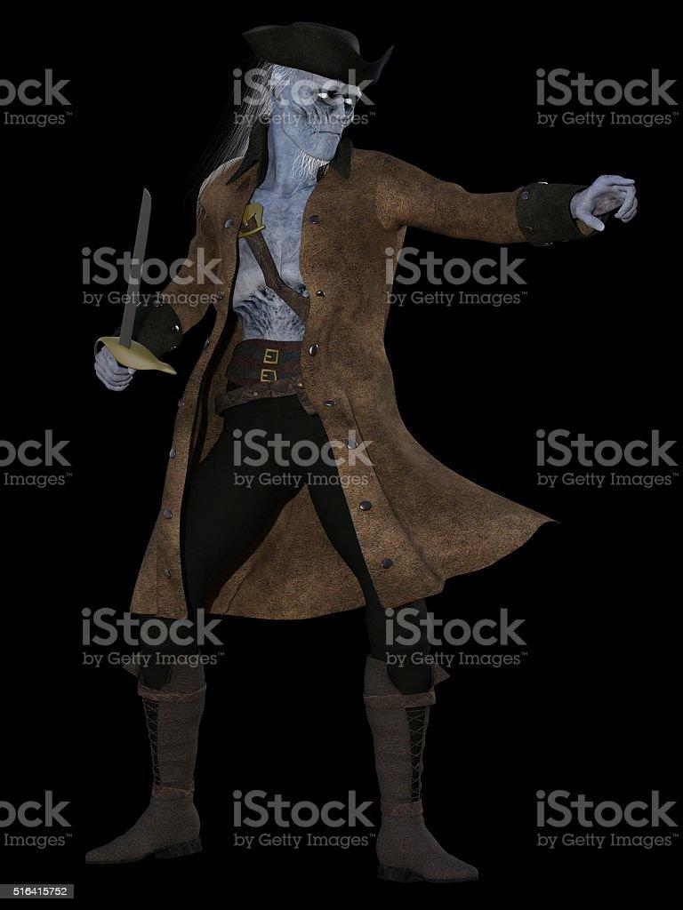 Cadaverous undead pirate stock photo