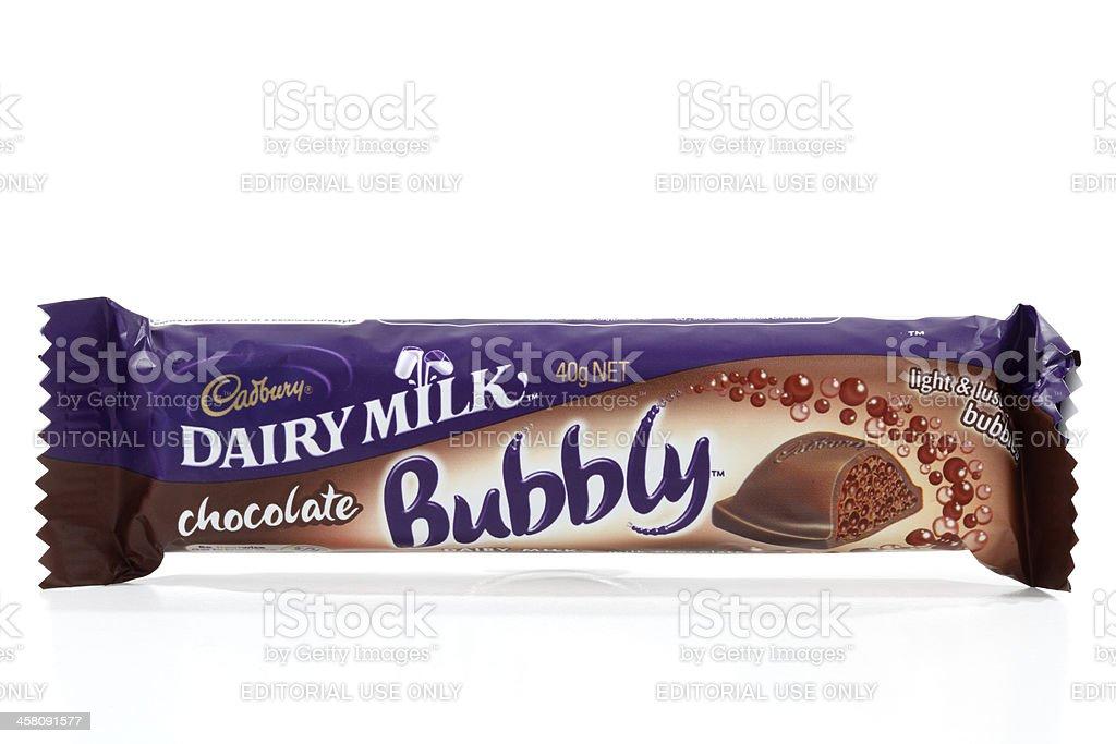 Cadbury Dairy Milk Bubbly chocolate bar stock photo