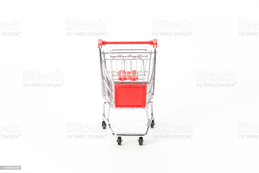 Caddy for shopping in supermarket stock photo
