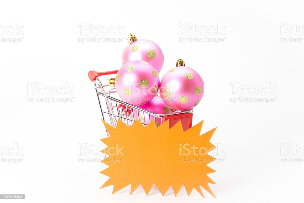 Caddy for shopping with christmas ball stock photo