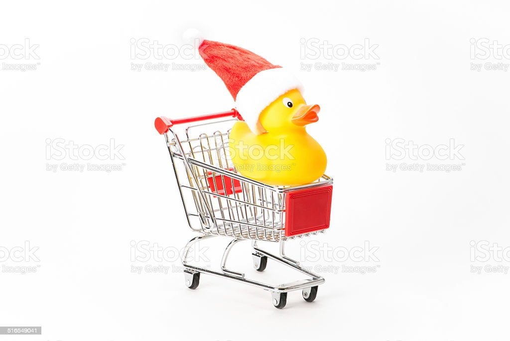 Caddy for shopping with christmas duck stock photo