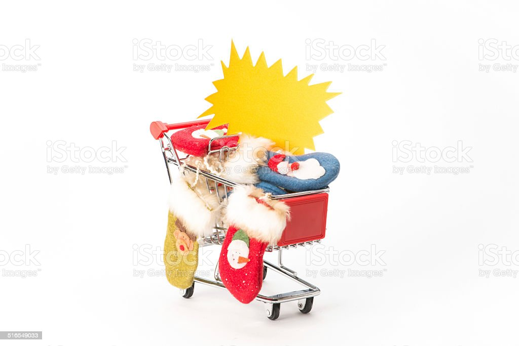 Caddy for shopping with christmas socks stock photo