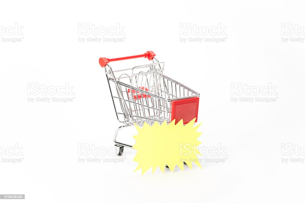 Caddy for shopping with discount coupon stock photo