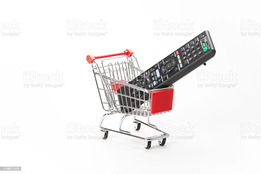 Caddy for shopping with remote control stock photo