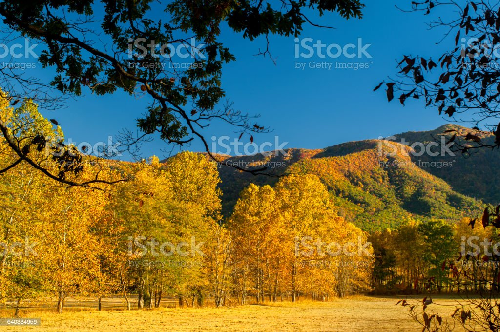 Cades Cove at Smoky Mountains USA in Late October stock photo