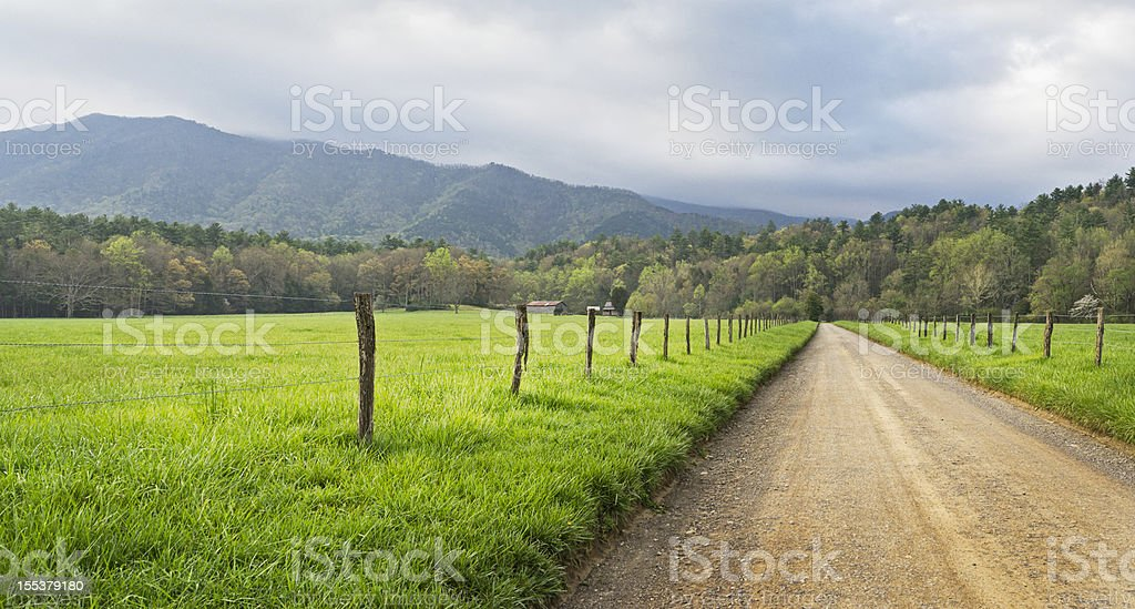 Cades Cove country road panoramic in the Smoky Mountains royalty-free stock photo