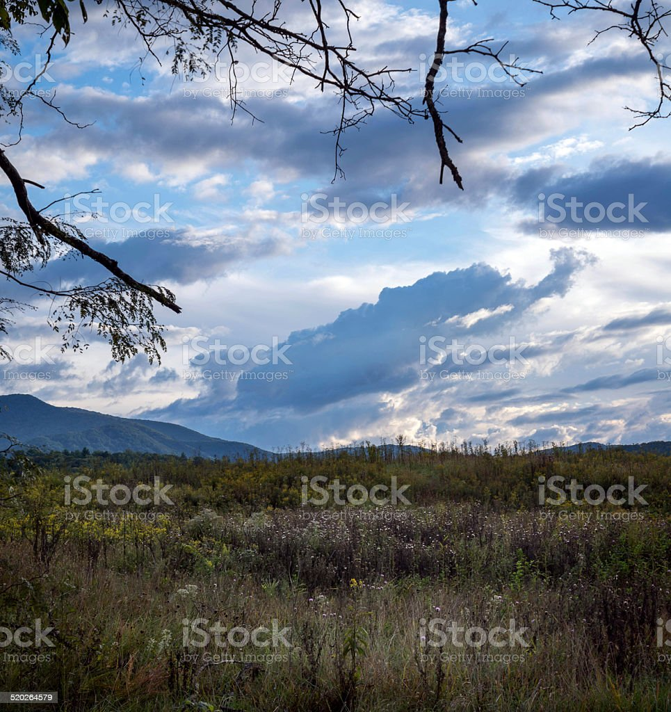 Cades Cove field in Tennessee stock photo
