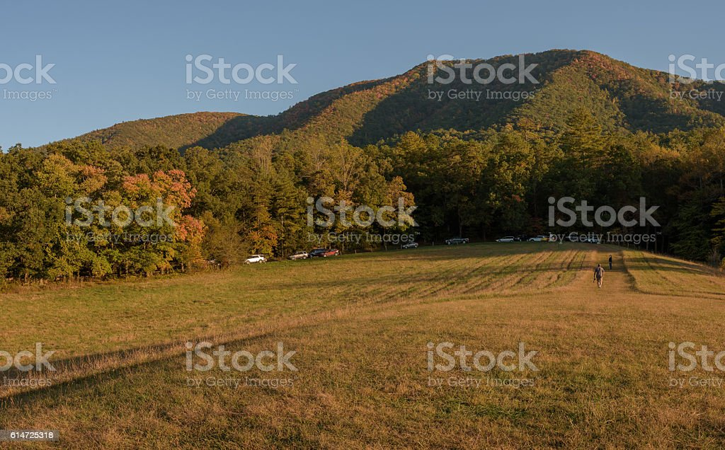 Cades Cove in Smoky Mountains National Park during Fall Season stock photo