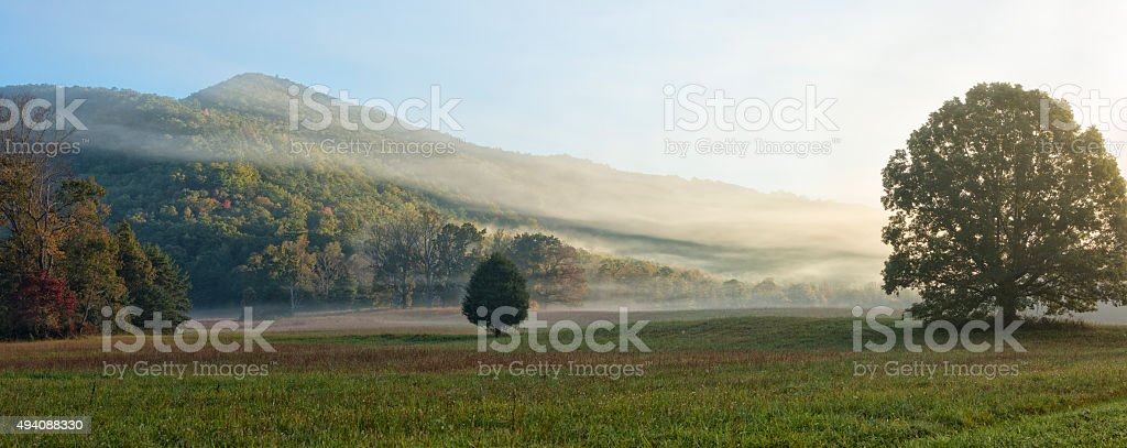 Cades Cove in the morning Oct 2015 stock photo