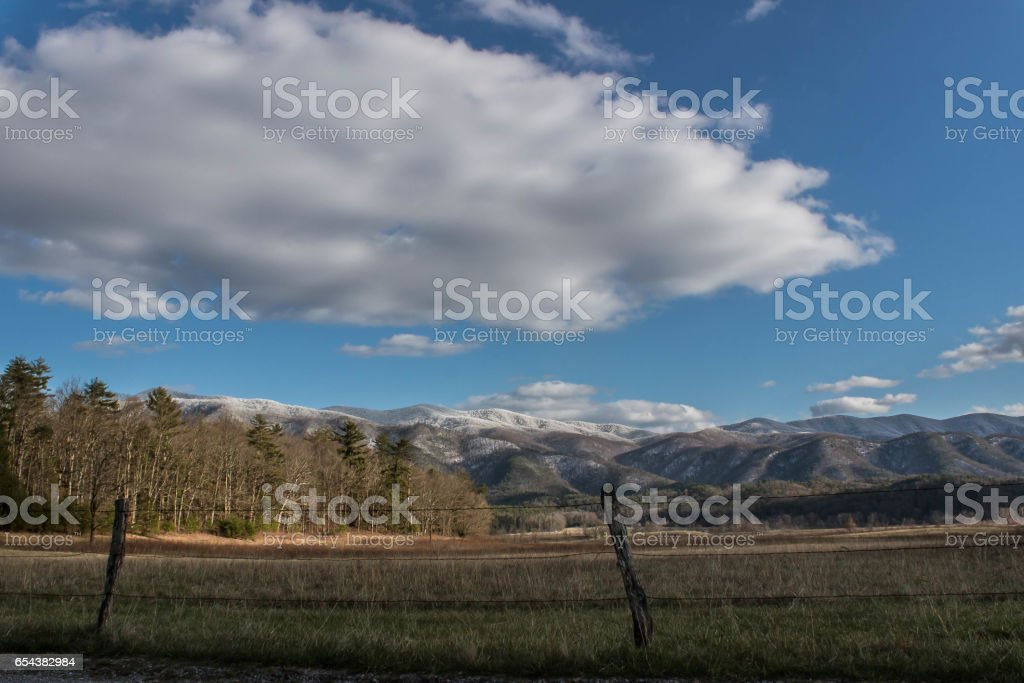 Cade's Cove Landscape in The Great Smokey Mountain Park stock photo
